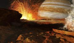 A scene on Jupiter's moon, Io, the most volcanic body in the solar system. - stock illustration