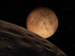 Mars seen from its outer moon, Deimos. Piirros