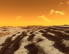Illustration of terraced terrain surrounding the north pole of Mars. Stock Illustration