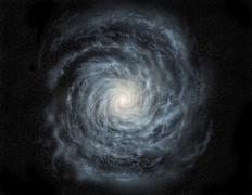 Artist's concept of a face-on view of our galaxy, the Milky Way. Stock Illustration
