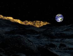 Illustration of the peaks surrounding the Peary crater on Earth's moon. Stock Illustration