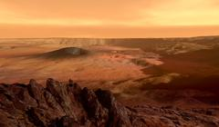 The view from the rim of the caldera of Olympus Mons on Mars. Stock Illustration