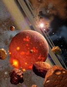 The primordial Earth being formed by asteroid-like bodies. Stock Illustration