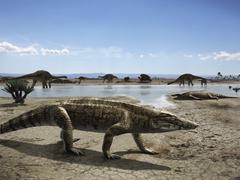 Uberabasuchus terrificus in an arid climate. Stock Illustration