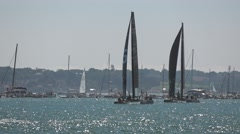 America's Cup qualifying series - Team BAR tries to hold the lead. Stock Footage