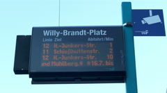4K Frankfurt am Main financial center Tram sign at Willi Brandt square Germany Stock Footage