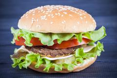 Fast food tasty Burger with cheese Stock Photos
