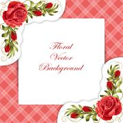 Frame with roses and leaves - stock illustration
