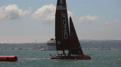 America's Cup qualifying series - Team USA initiates a tack. Stock Footage