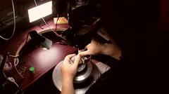 CLock rim metal engraving Stock Footage