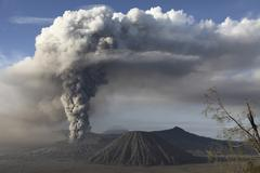 Eruption of ash cloud from Mount Bromo volcano, Tengger Caldera, Java, Stock Photos