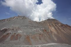 Degassing Lava Dome sitting in summit crater of Chaiten volcano, Chile. Kuvituskuvat