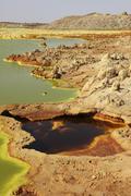 Potassium salt deposits, Dallol geothermal area, Danakil Depression, Ethiopia. Stock Photos