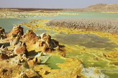 Potassium salt deposits, Dallol geothermal area, Danakil Depression, Ethiopia. Stock Photos