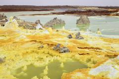 Potassium salt deposits, Dallol geothermal area, Danakil Depression, Ethiopia. Kuvituskuvat