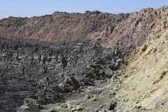 Caldera wall and North crater, Erta Ale volcano, Danakil Depression, Ethiopia. Stock Photos