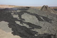 Basaltic lava flow from pit crater, Erta Ale volcano caldera, Danakil Stock Photos