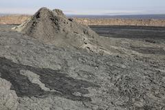 Old hornito rising from floor of caldera, Erta Ale volcano, Danakil Depression, Stock Photos