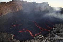 Lava lake in pit crater, Erta Ale volcano, Danakil Depression, Ethiopia. Stock Photos