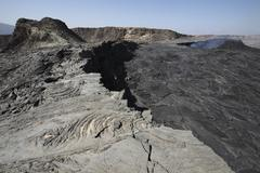 South pit crater filled by basaltic lava flows, Erta Ale volcano, Danakil Stock Photos