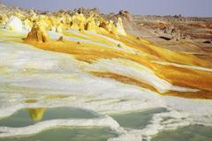 Dallol geothermal area, brine hot springs, Danakil Depression, Ethiopia. - stock photo