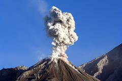 Eruption of ash cloud from Santiaguito dome complex, Santa Maria volcano, Stock Photos
