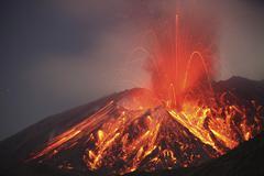 Explosive Vulcanian eruption of lava on Sakurajima Volcano, Japan. Stock Photos