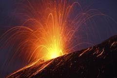 Vulcanian eruption of Anak Krakatau volcano, Sunda Strait, Java, Indonesia. Stock Photos