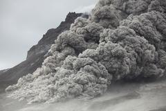 Pyroclastic flow descending the flank of Soufriere Hills volcano, Montserrat, - stock photo