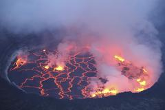 Active lava lake in pit crater, Nyiragongo Volcano, Democratic Republic of the Stock Photos