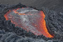 Lava flow on the flank of Pacaya volcano, Guatemala. - stock photo