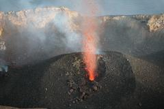 Strombolian eruption of vent in crater terrace of Stromboli volcano, Aeolian Stock Photos