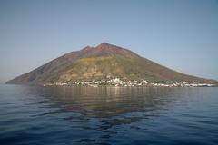 Stromboli volcano, Aeolian Islands, Mediterranean Sea, Italy. - stock photo
