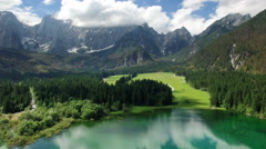 Top view on the Laghi di Fusine Stock Footage