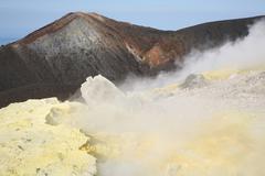 Fumarole field on rim of Vulcano Island, Aeolian Islands, Italy. Stock Photos
