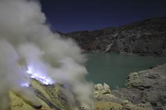 Acidic crater lake and solfatara, Kawah Ijen volcano, Java, Indonesia. Stock Photos