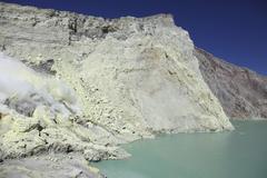 Acidic crater lake, Kawah Ijen volcano, Java, Indonesia. Stock Photos