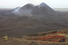 Scoria cone on Nyamuragira Volcano, Democratic Republic of Congo. Stock Photos