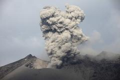 Ash cloud eruption from Sakurajima volcano, Japan. Stock Photos