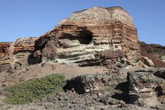 Abandoned Manganese Mine at Cape Vani, Milos Island, Greece. Stock Photos