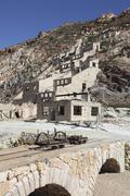 Paliorema sulfur mine and processing facility, Milos Island, Greece. Stock Photos
