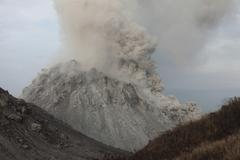Pyroclastic flow descending flank of Rerombola lava dome of Paluweh volcano. Kuvituskuvat