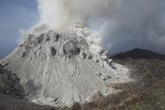 Degassing Rerombola lava dome of Paluweh volcano, Indonesia. Kuvituskuvat