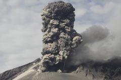 Explosive eruption of Sakurajima volcano, Japan. Stock Photos