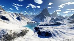 Terragen render of an imaginary mountain lake. Stock Illustration