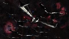 Xeelee nightfighters, inspired by the novels of Stephen Baxter. Stock Illustration