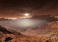 The sun sets over the Eberswalde region of Mars. Piirros