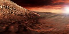 Dark dunes march along the floor of Gale Crater, Mars. Stock Illustration