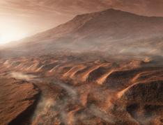 A light fog forms in a desiccated gully in Gale Crater, Mars. Stock Illustration