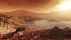 The Martian sun sets over the high walls of Mojave Crater. Stock Illustration